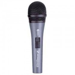 Microphone in hand for singing soloist onstage Sennheiser cardioid