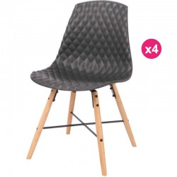 Set of 4 chairs black base oak Vigi KosyForm Polypropylene
