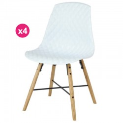 Set of 4 chairs Polypropylene white oak Vigi KosyForm base