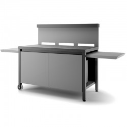 Rolling table credence steel black and light grey for Planchas forge Adour