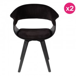 Lot de 2 Chaises Vintage en Velours Noir Mio KosyForm