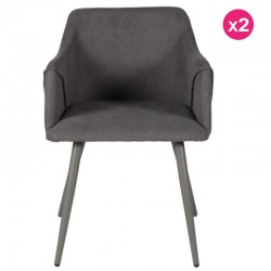 Lot de 2 Fauteuils Gris Velours Lov KosyForm