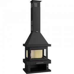 Wood fireplace 15 Kw steel with 3 sides glazed and lower pyre